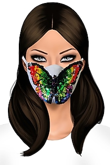 Multi Colored Butterfly Embroidered Mask by Gaya