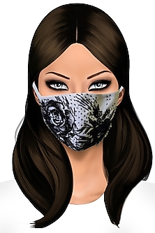 Black Floral Embellished Mask by Gaya