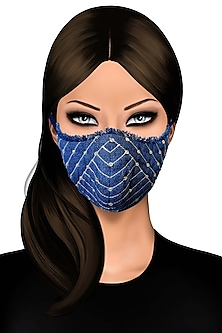 Blue Floral Denim Mask by Gaya