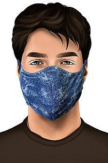 Blue Cotton Denim Distressed Mask by Gaya