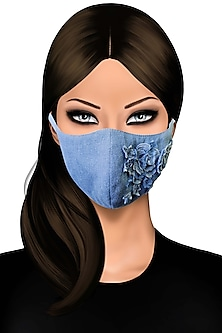 Blue Mask With Rose Fabrication by Gaya