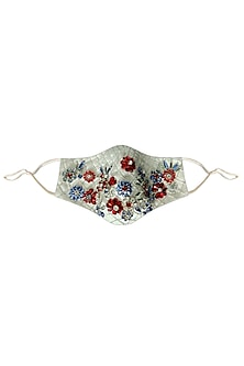 White Floral Embroidered Mask by Gaya