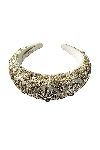 Ivory & Gold Embroidered Hairband by Gaya