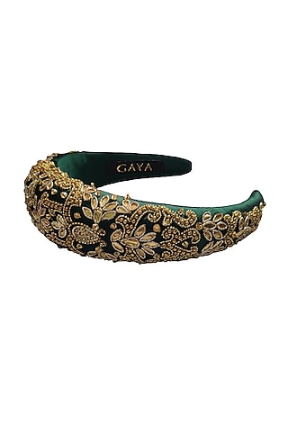 Emerald & Gold Embroidered Hairband by Gaya