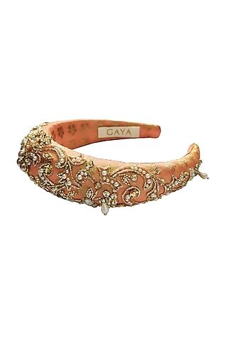 Peach & Gold Embroidered Hairband by Gaya
