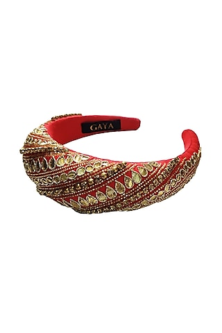 Hot Pink & Gold Embroidered Hairband by Gaya