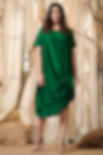 Emerald Green Dress With Cowl Drape by Gazal Gupta