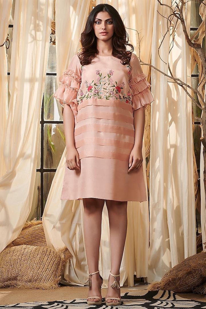 Pastel Pink Embroidered Dress by Gazal Gupta