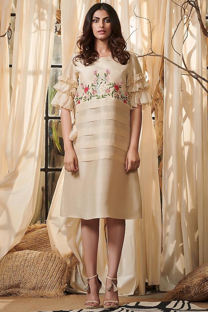 Ivory Embroidered Dress by Gazal Gupta