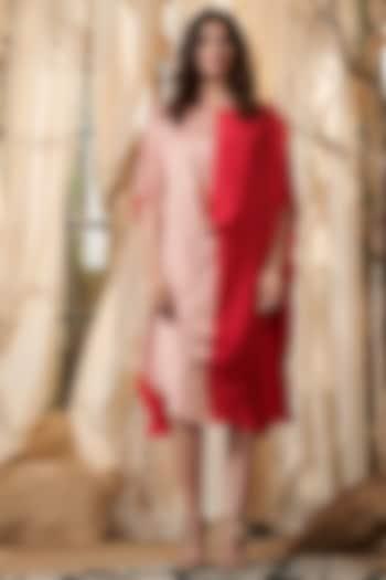 Peach & Red Cape Dress by Gazal Gupta