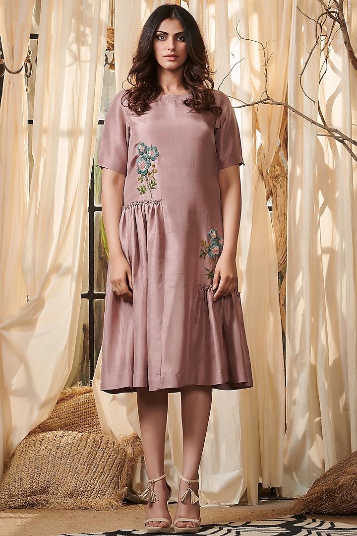 Lilac Embroidered Ruffled Dress by Gazal Gupta
