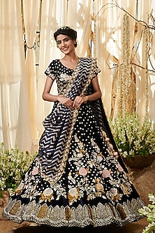 Navy Blue Embroidered Lehenga Set by Gazal Gupta