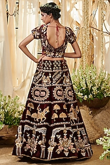 Maroon Embroidered Lehenga Set by Gazal Gupta