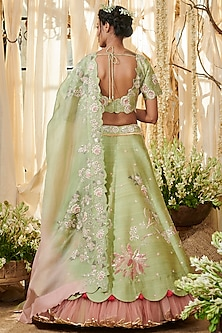 Sage Green Embroidered Lehenga Set by Gazal Gupta