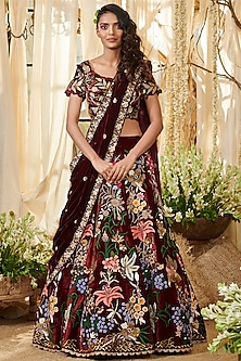 Maroon Embroidered Silk Velvet Lehenga Set by Gazal Gupta