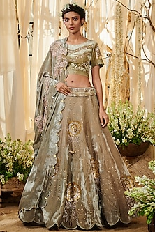 Grey Embroidered Lehenga Set by Gazal Gupta