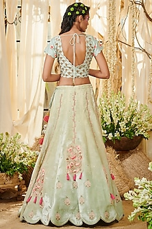 Sea Green Embroidered Lehenga Set by Gazal Gupta
