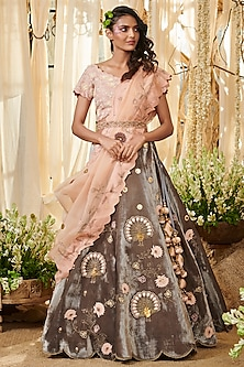 Peach & Grey Embroidered Lehenga Set by Gazal Gupta