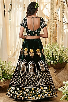 Emerald Green Embroidered Lehenga Set by Gazal Gupta