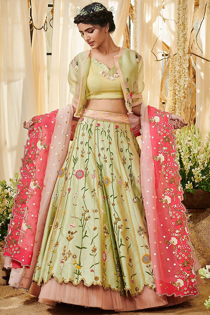 Sage Green & Pink Embroidered Lehenga Set by Gazal Gupta