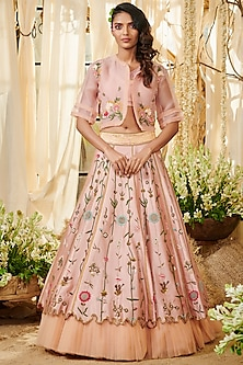Blush Pink Embroidered Lehenga Set by Gazal Gupta