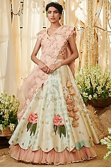 Aqua Blue & Ivory Embroidered Lehenga Set by Gazal Gupta
