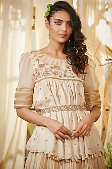 Ivory Embroidered Peplum Lehenga Set by Gazal Gupta