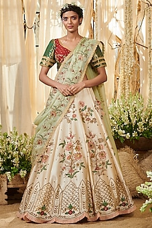 Ivory & Red Embroidered Lehenga Set by Gazal Gupta