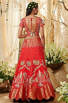Red Embroidered Lehenga Set by Gazal Gupta