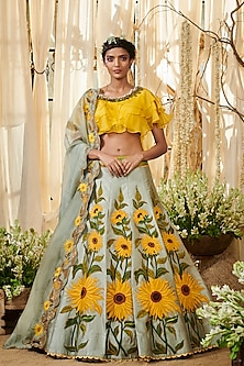 Grey & Yellow Embroidered Lehenga Set by Gazal Gupta