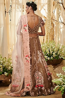 Brown Embroidered Lehenga Set by Gazal Gupta