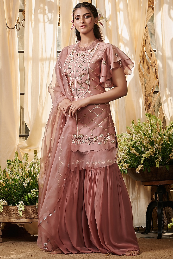 Pink Embroidered Gharara Set by Gazal Gupta