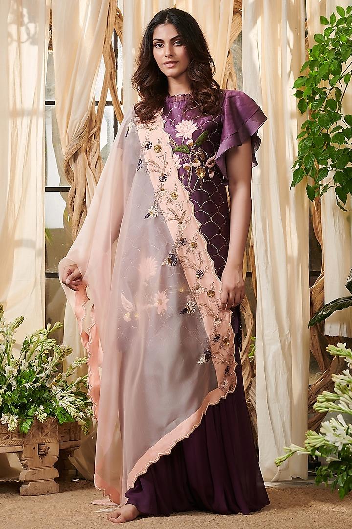 Purple Embroidered Gharara Set by Gazal Gupta
