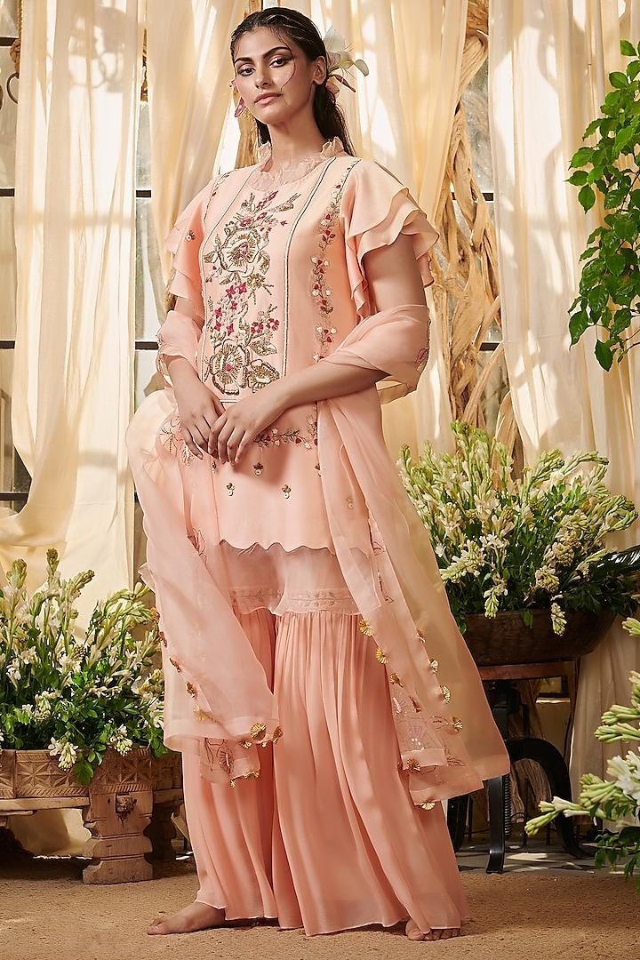 Peach Embroidered Gharara Set by Gazal Gupta