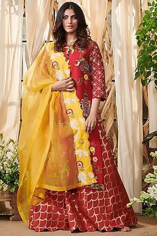 Red Embroidered Lehenga Set by Gazal Gupta
