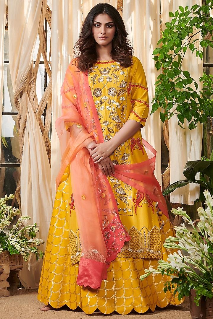 Yellow Embroidered Lehenga Set by Gazal Gupta