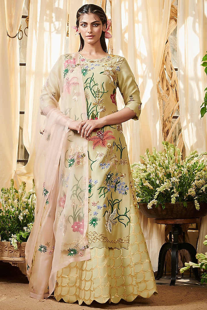 Sage Green Embroidered Lehenga Set by Gazal Gupta