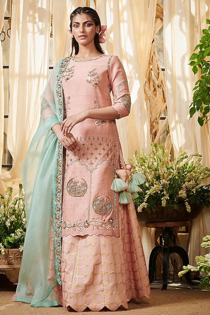 Blush Pink Embroidered Lehenga Set by Gazal Gupta