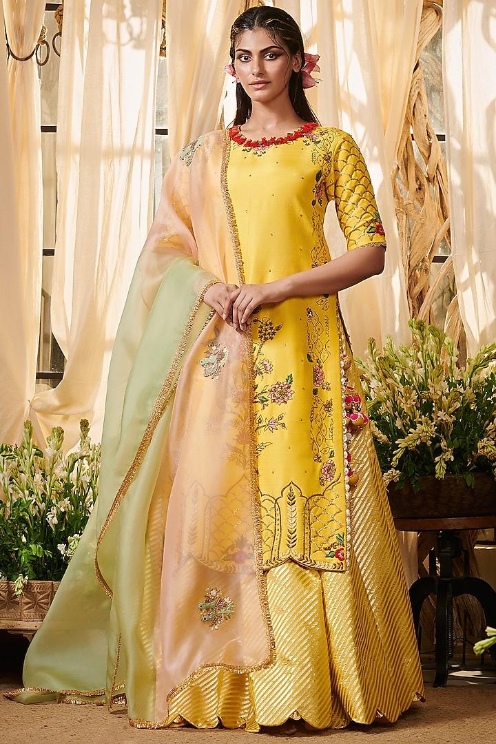 Yellow Zardosi Embroidered Lehenga Set by Gazal Gupta