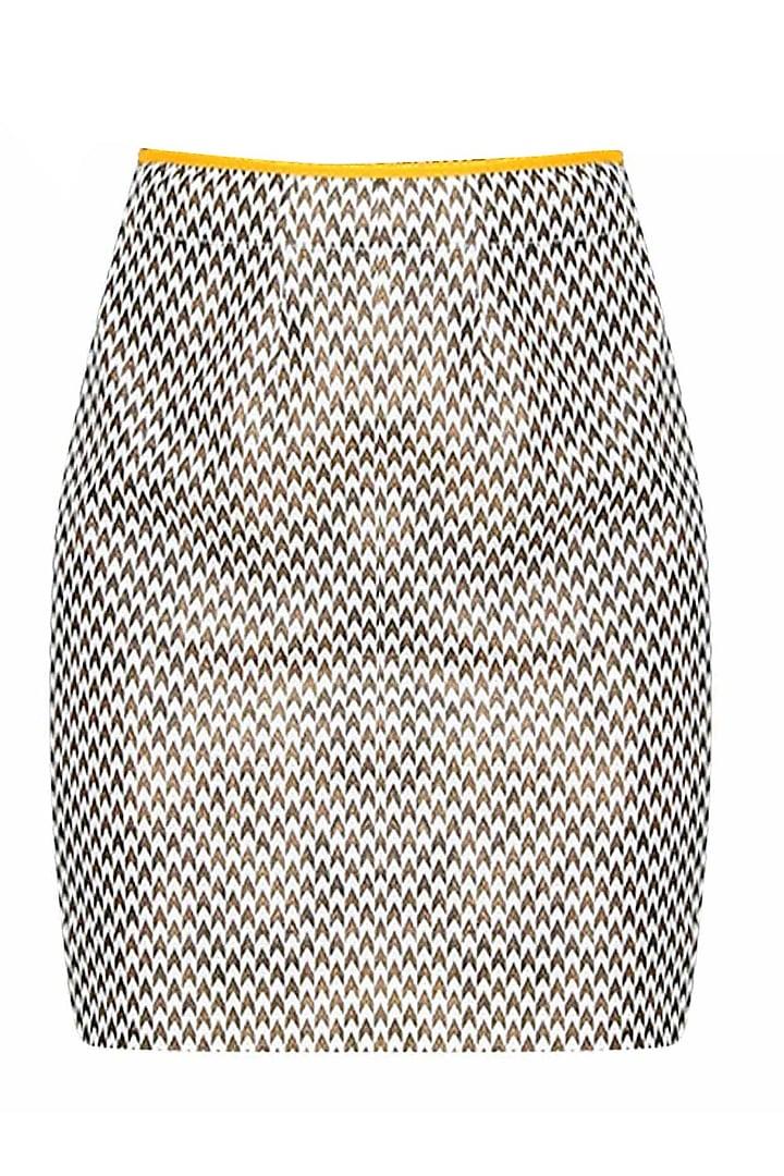 Off White And Brown Herringbone Printed Fitted Skirt by Gaaya by Gayatri Kilachand
