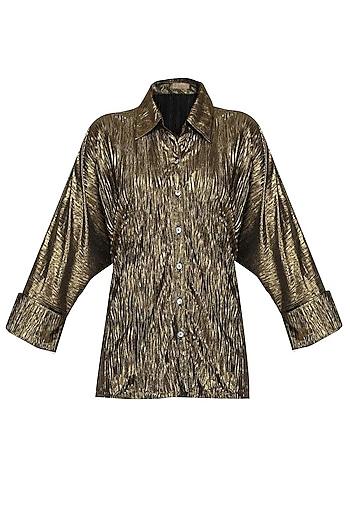 Shimmer Bronze Crushed Button Down Loose Shirt by Gaaya by Gayatri Kilachand