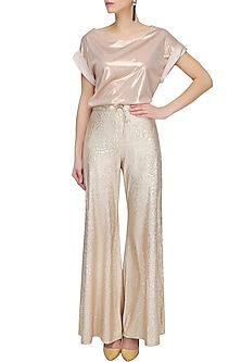 Light Gold Self Rose Printed Flared Palazzo Pants by Gaaya by Gayatri Kilachand