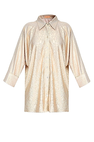 Gold Crushed Self Rose Print Loose Button Down Shirt by Gaaya by Gayatri Kilachand