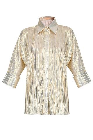 Gold Loose Button Down Shirt by Gaaya by Gayatri Kilachand