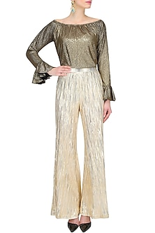 Gold Knitted Flared Palazzo Pants by Gaaya by Gayatri Kilachand