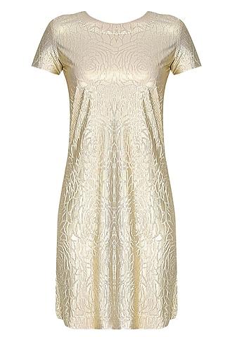 Gold Self Rose Printed Shift Dress by Gaaya by Gayatri Kilachand