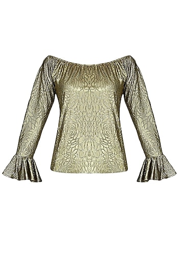 Gold Metallic Self Rose Print Off Shoulder Top by Gaaya by Gayatri Kilachand