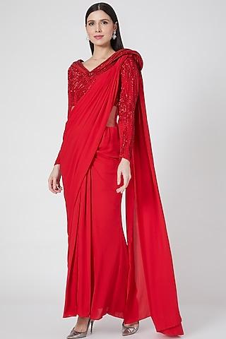 Red Embroidered Pre-Stitched Saree Gown by Gaurav Gupta