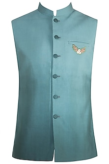 Sky Blue Embroidered Nehru Jacket by Gaurav Katta