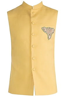Mustard Embroidered Nehru Jacket by Gaurav Katta